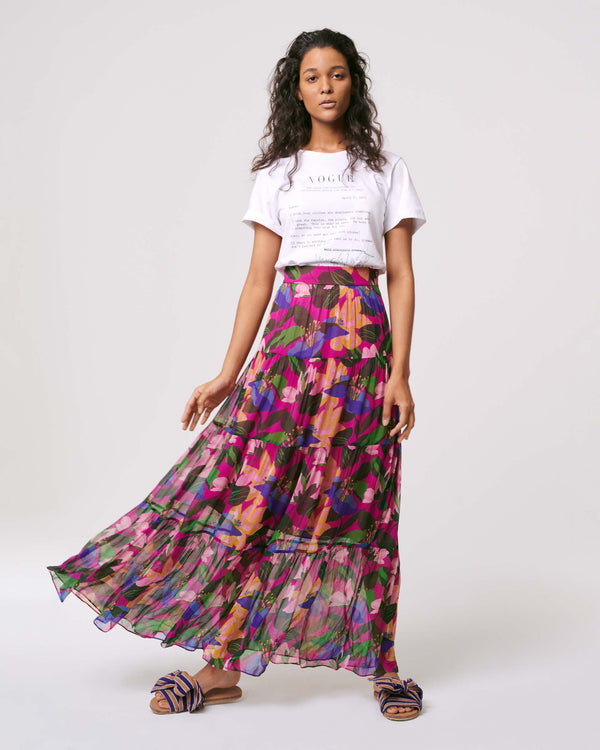 Lillian Chiffon-blend Maxi Skirt in Oasis