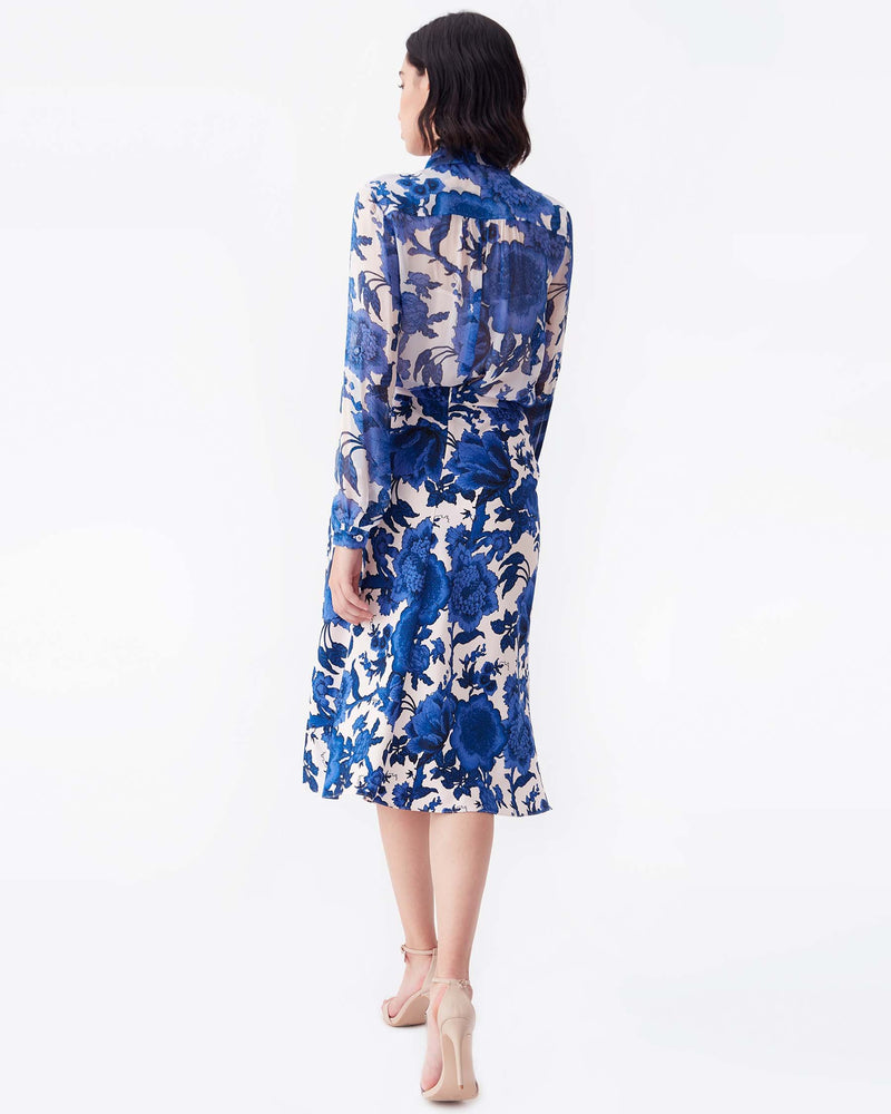 Beverly Cady Midi Skirt in Willow Flowers Pink Blue