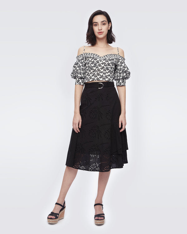 Alyssa Cotton-Eyelet Skirt in Black