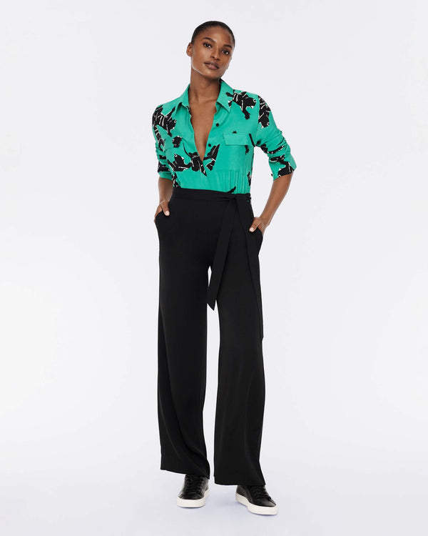 Estrella Silk Wide-Leg Jumpsuit in Climbing Panther Green