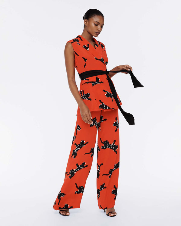 Bernice Cady-Blend Jumpsuit in Climbing Panther Red