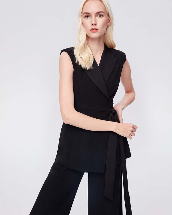 Bernice Satin-Back Crepe Jumpsuit in Black