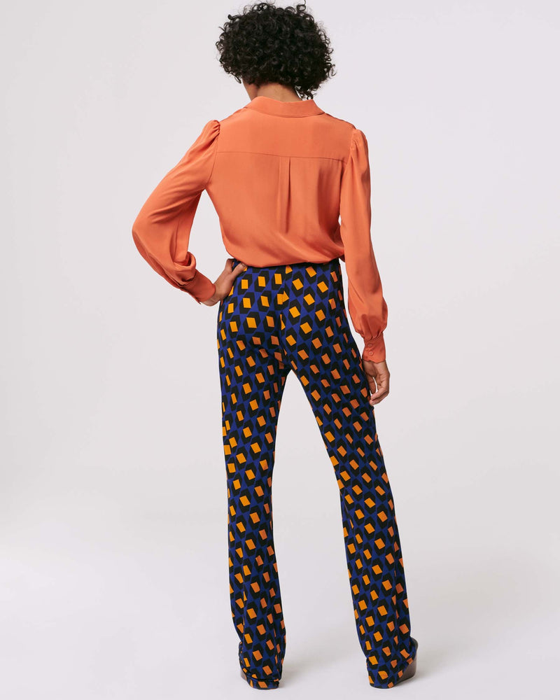 Caspian Matte-Jersey Flare Pants in Arrow Head Navy