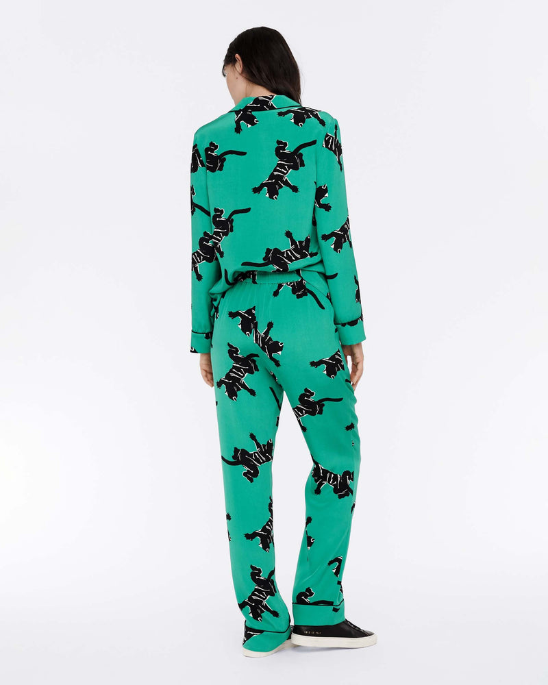 Veronica Silk Crepe De Chine Pajama Pants in Climbing Panther Green