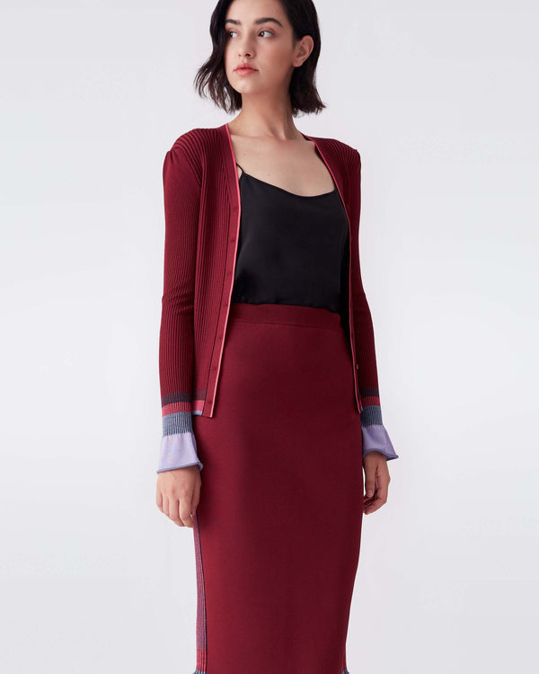 Mandy Ribbed Knit Cardigan in Wine Red
