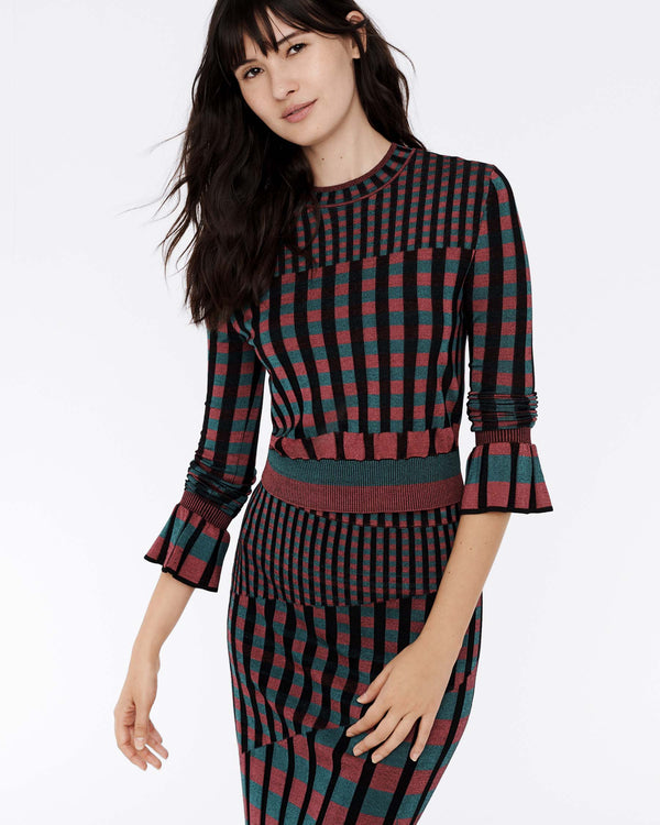 Clemment Ribbed Knit Pullover in Hollyberry Gingham