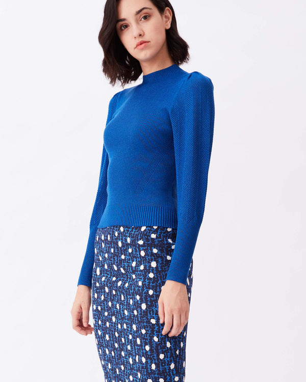 Catherine Mixed-Ribbed Knit Mockneck in Skydiver