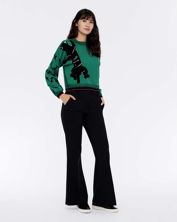 Dexa Merino-Wool Cropped Pullover in Green