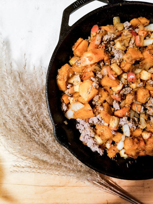 Fall Butternut Squash and Apple Skillet with Sausage