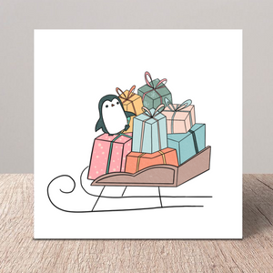 Sleigh Penguin Greeting Card