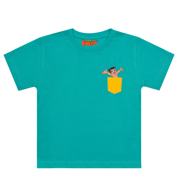 Chhota Bheem -2Pack Premium Kids T-Shirt - Glitter & Pocket (Maroon &Green)