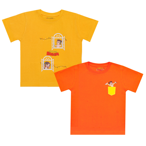 Chhota Bheem 2Pack Premium  Kids T-Shirt -  Phone Window & Pocket (Yellow & Orange)