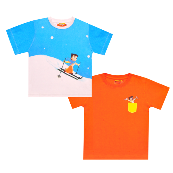 Chhota Bheem 2Pack Premium Kids T-Shirt  -Ski's& Pocket ( Pure White& Orange)