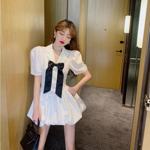 puff white dress for teens