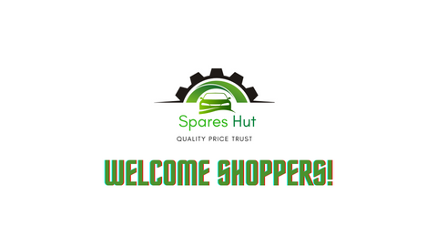 Welcome Shoppers! Text and Spares Hut Logo on White Background