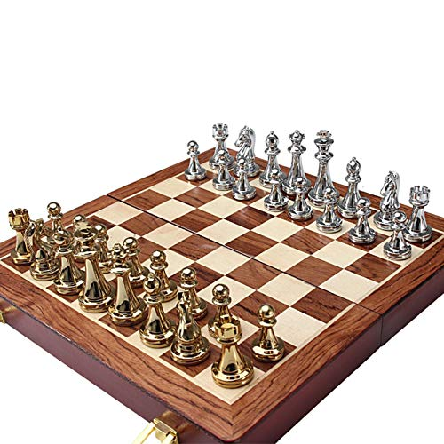 Chess,12 Inches Metal Travel Chess Set with Portable/Foldable Chessboard Handcrafted Chess Pieces Complete Fide Entertainment International Educational Toys Traditional Game Gift for Kid/Adult