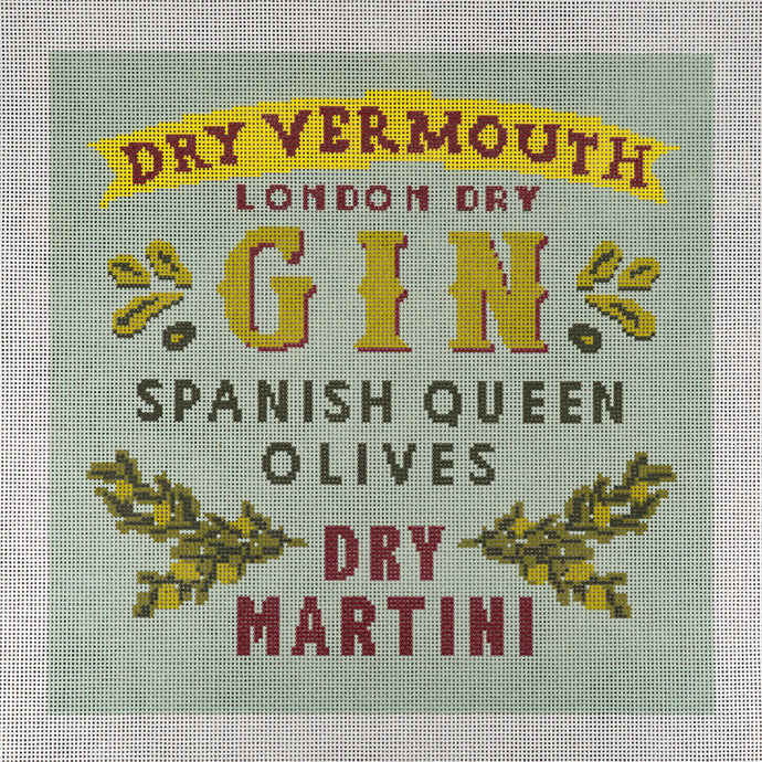 Needlepoint Canvas - Gin Martini with Olives