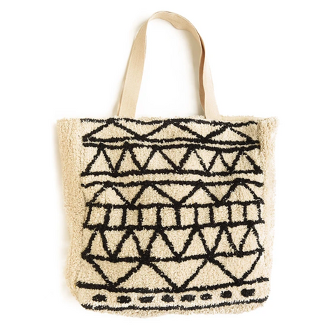 Cream With Black Shaggy Tote Bag