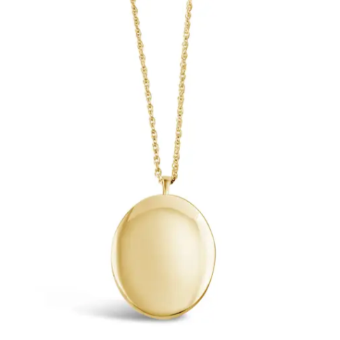 "Oval Locket 24"" Gold Chain"