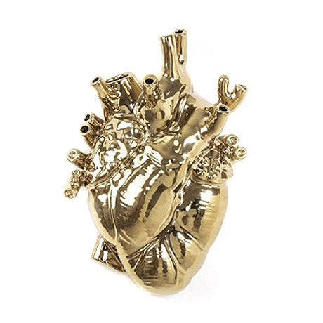 Anatomical Heart Vase Gold