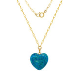 Blue Agate Heart Pendent Necklace