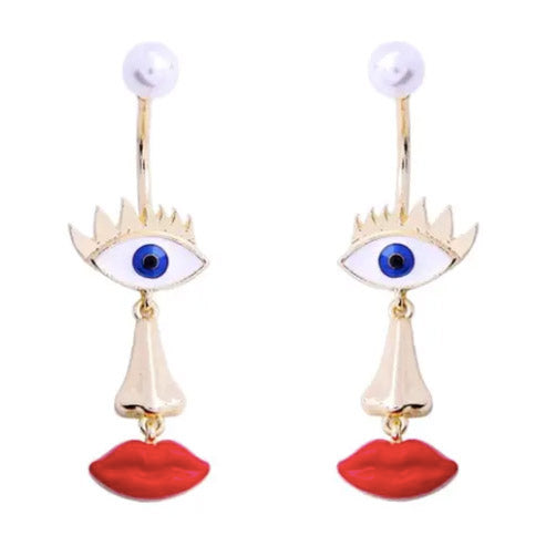 Blue Eye Red Lips Earrings