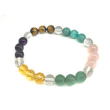 Crystal Bracelet Chakra balancing with alternating gemstone beads rose quartz, amethyst, avenurine, fluorite, citrine, tiger's eye, and clear quartz, packaged in glass reusable jar
