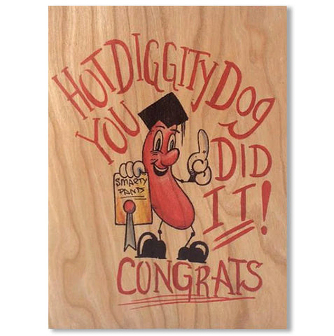 Congratulations You Did It Wood Folding Card