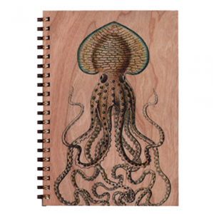 Wood Notebook Octopus Large