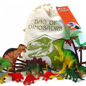 Bag of Dinosaurs  contains an assortment of plastic toys. Comes in muslin bag, 100% cotton.