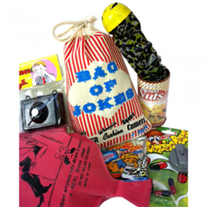 Bag of Jokes  contains an assortment of plastic toys. Comes in muslin bag, 100% cotton.