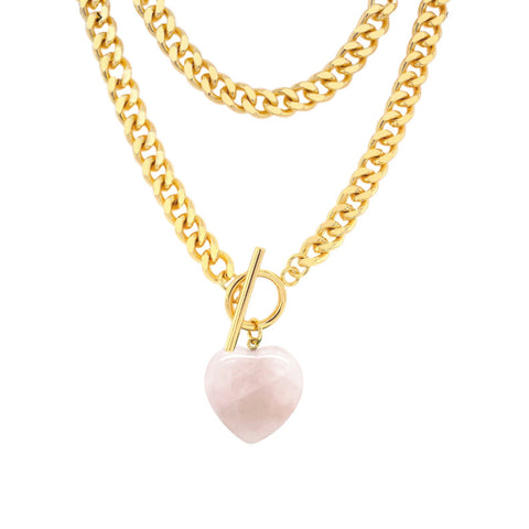 Rose Quartz Heart Pendent Chain Necklace