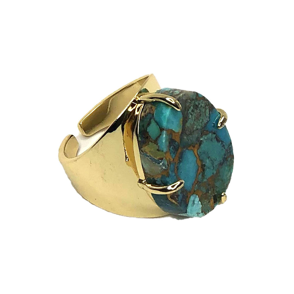 Turquoise Gem Cuff Ring