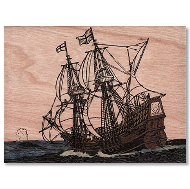 Ship Wood Folding Card