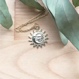 Astronomer Amulet Necklace,Sun & Moon Pendant, gold fill  18in chain.