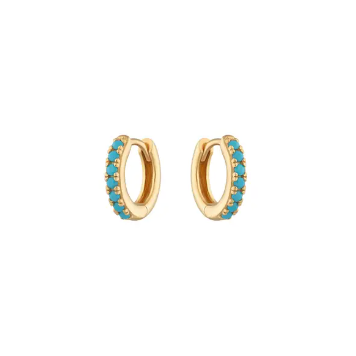 Turquoise Stone Tiny Huggies Hoops