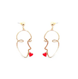 Artsy Kiss Heart Face Gold Earrings