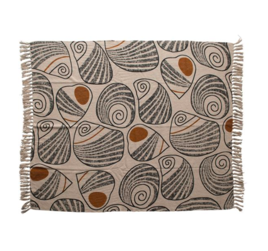 Recycled Cotton Blend Printed Throw