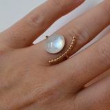 Moonstone Half Moon Ring