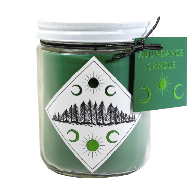Abundance Candle green candle, diamond label with forrest and moons