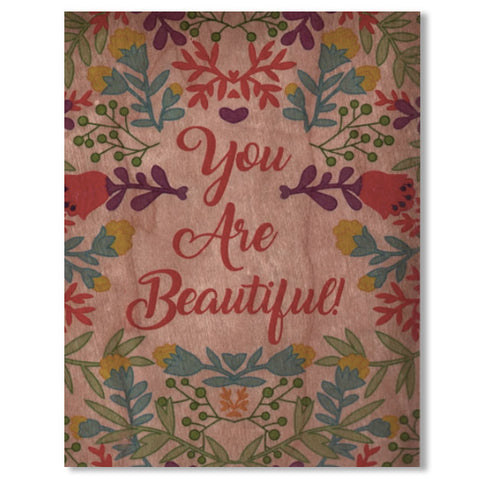 Romantic You Are Beautiful Wood Folding Card