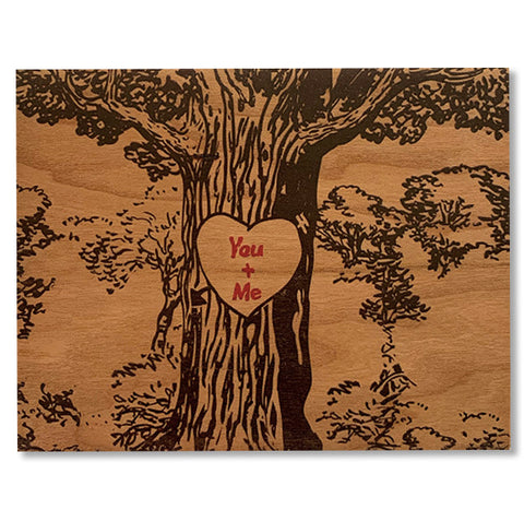 Romantic You + Me Wood Card