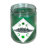 Abundance Candle green candle, diamond label with forrest and moon
