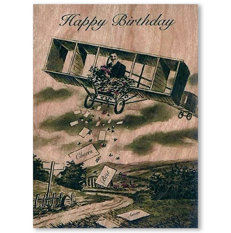 Birthday Wood Card Airplane Birthday