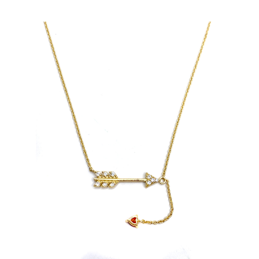 Gold Pave Arrow with Ruby Heart Necklace