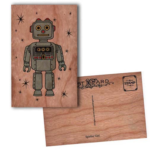 Robot wood Postcard
