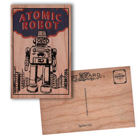 Wood Postcard Atomic Robot