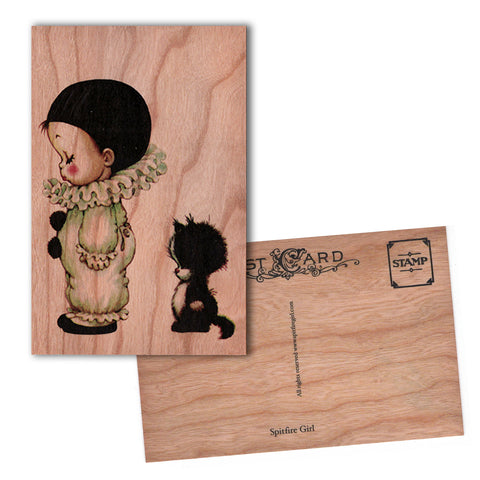 Wood Postcard Baby Clown
