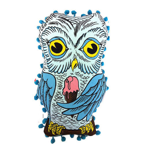 Blue Baby owl pom pom doll eating pink ice cream cone