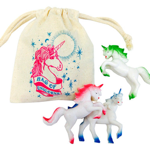 Bag of Unicorns linen bag with colorful small unicorns
